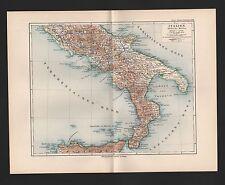 Landkarte map 1892: ITALIEN Südliche Hälfte. Latium Abruzzen Molise Apulien