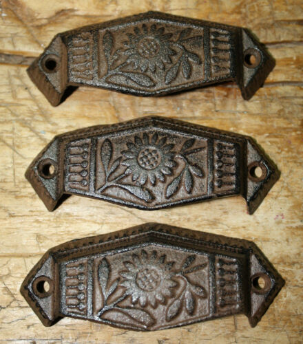2 Cast Iron Antique Victorian Style OVAL Drawer Pull Door Handles Barn Handle
