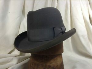 89fc7f2a1 Details about Vintage Stetson Royal Deluxe St. Regis Homburg Fedora Hat  1951 Gray Color Size 7