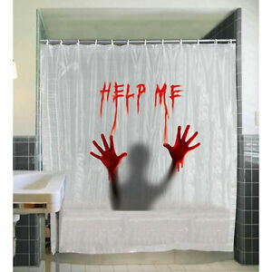 Image Is Loading Creepy Shower Curtain Bloody Help Me Halloween Party