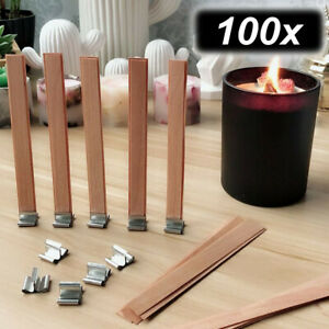 100pcs-Wood-Wooden-Candles-Core-Wick-Candle-Making-Supplies-w-Iron-Stands-8-15mm