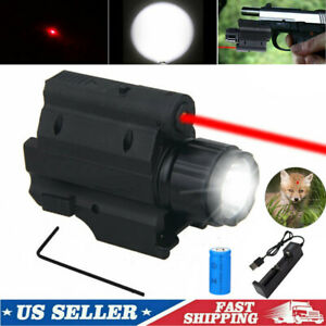 Tactical LED Flashlight Light Red Dot Laser Sight Torch For Airsoft Rail Pistol