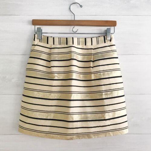 J.Crew - Gold & beige striped silk blend pleated m