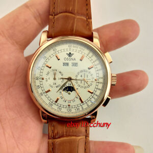 42mm Ossna Moon Phase rose gold case Date&Day Leather strap Automatic Watch