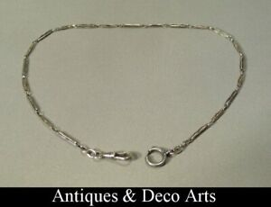 Antique-Continental-Silver-amp-Niello-Enamel-Albert-Chain-Watch-Chain-800-grade