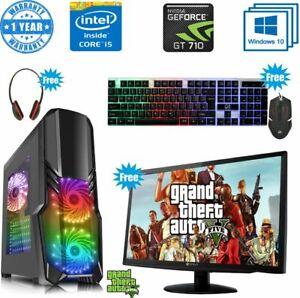 Fast-Gaming-PC-Computer-Bundle-Intel-Quad-Core-i5-16GB-1TB-Windows-10-2GB-GT710i