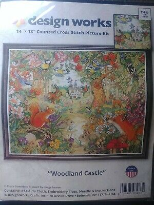 "Design Works Counted Cross Stitch Kit Woodland Castle 14/"" x 18/"" NEW 14 Count"