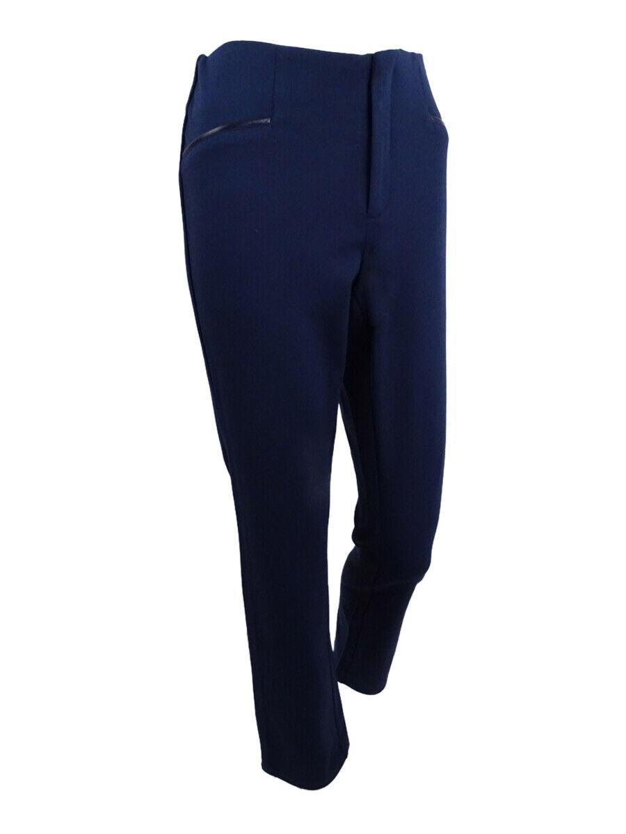 Inc Women's Faux-Leather-Trim Curvy-Fit Pants