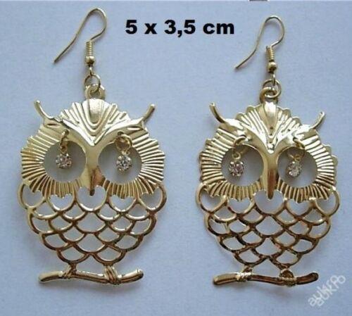 Wunderschöne Vintage Ohrringe Eule golden silber  XXL Owl Earrings wählen!
