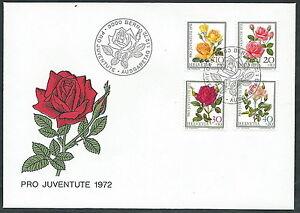 1972 Svizzera Fdc Pro Juventute Rose - Sv6