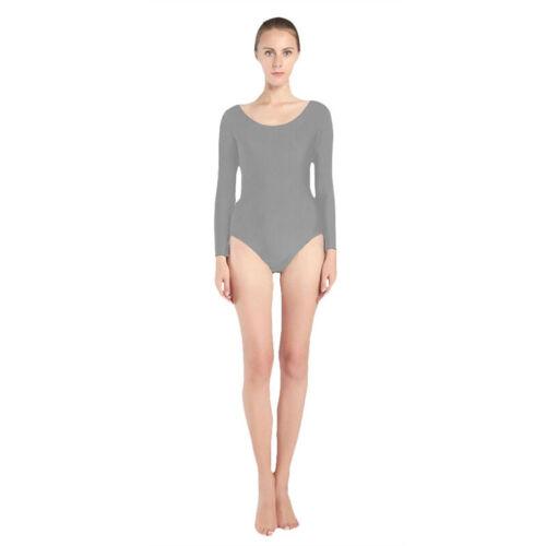 Damen Langarm-Body Rundhals-Ausschnitt Ballett Bodysuit Stretch Shirt Basic Tanz