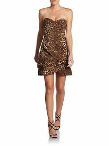 BCBG-MAX-AZRIA-Dorin-Leopard-Print-Strapless-Cocktail-Dress-Size-4