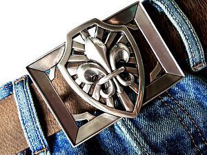 6b2ff5dda5b5a9 Das Bild wird geladen Guertelschnalle-Buckle-Lilie-Wappen-Ornament- Mittelalter-Fleur-de-