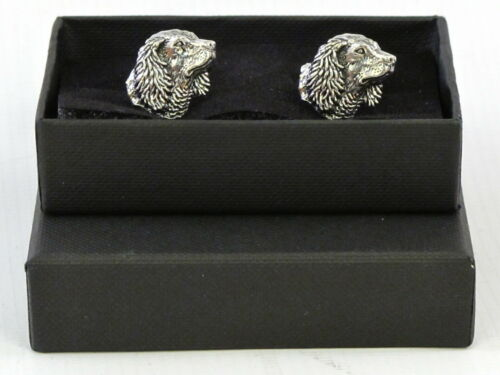 Spaniel Head Cocker Springer Dog Fine English Pewter Cufflinks Gift Mens Boxed