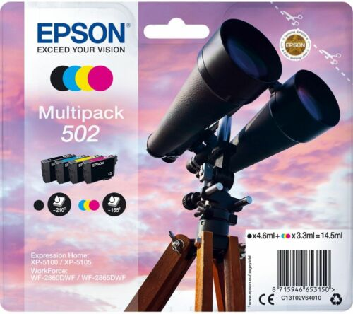 C B M Epson 502 Set 4 T02V6 Multipack Original Tintenpatronen