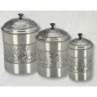 Kitchen Canister Set Set Steel 3 Storage Antique Vintage Flour Sugar Cookies