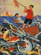 PROPAGANDA POLITICAL COMMUNISM CHINA FISH PEOPLE BOAT HAPPY JOY POSTER BB2531A