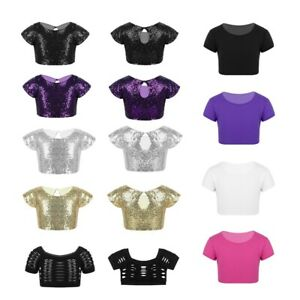 Kids Girls Sequins Tops Dance Gym Tanks Crop Top Party Stage Costume Daily Wear