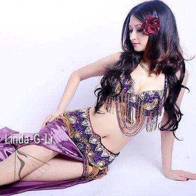 6 Colors Belly Dance Costume Set 2 pics Bra & Belt 34B-40D B to D Cup 13/1234
