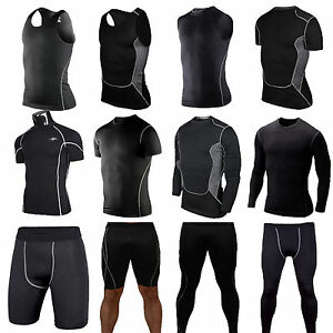 Mens-Compression-Thermal-Under-Base-Layer-Tights-T-shirt-Skin-Shorts-Pants-Black