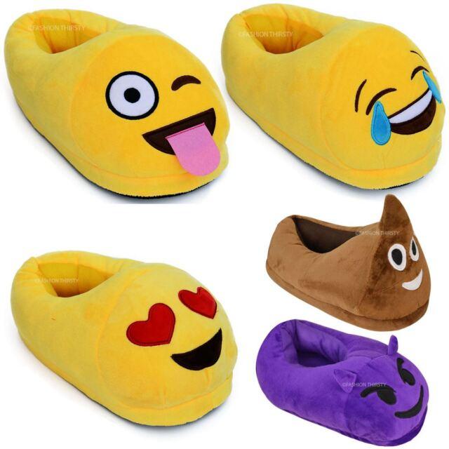 Men Women Kids Emoji Plush Stuffed Unisex Slipper Winter Home Indoor Shoes Size