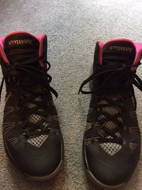 MENS NIKE HYPERDUNK LUNARLON SNEAKERS BLACK, GRAY, PINK ATHLETIC HIGH TOP >8.5 M