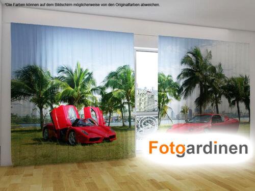 """Fotovorhang Fotodruck Fotogardinen /""""Ferrari/"""" Vorhang mit Motiv auf Maß"""
