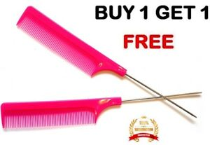 PINK-Hairdresser-Barber-Metal-End-Pin-Tail-Rat-Tail-Comb-For-Styling-Free-Uk