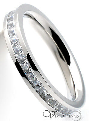 Stainless Steel Princess Cut CZ Women Flat Eternity Ring 3.5mm Size 4 to 10.5