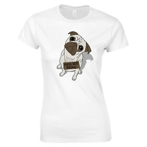 Pug T-Shirt Women s Pugs Not Drugs Drawing Dog Animal Lover Dog  ad96a46e7d