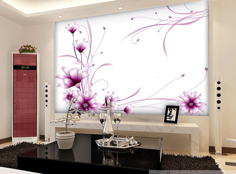 3D 3D 3D Lila Blaumen Muster 9980 Tapete Wandgemälde Tapeten Bild Familie DE Jenny | Erste Gruppe von Kunden  |  d35d08