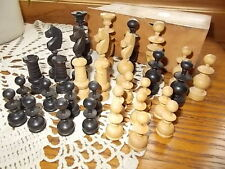 RARE! Antique French Handcarved Chess Set Chessmen Made in France w/BOX! KIRKS