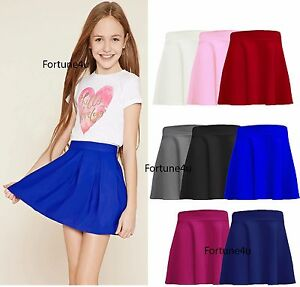 GIRLS CHILDREN HIGH WAISTED STRETCH PLAIN FLIPPY FLARED SHORT KIDS SKATER SKIRTS