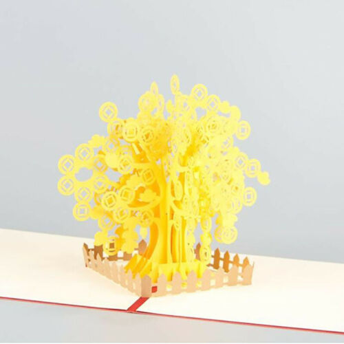 3D Money Tree Paper Invitation Greeting Cards New Year Business Gift Card G