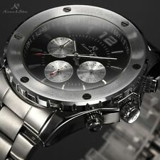 KS 6 Hands Black Dial Date Stainless Steel Men Automatic Mechanical Sport Watch