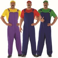 Mens Super Mario Luigi Wario 1980s Plumber Fancy Dress Costume Outfit M L XL