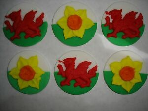 Welsh-dragon-daffodil-cupcake-toppers-x-6