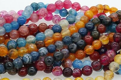 "15"" Strand New Faceted Round Agate Beads Natural Gemstone Barcelet Findings 8mm"