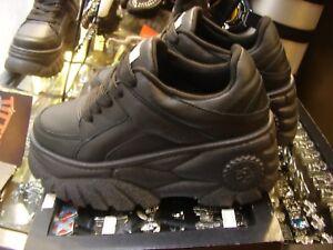 Scarpe sneakers suola alta platform Police 883 pelle nero black buffalo