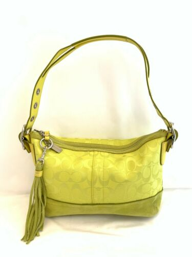 COACH Lime Yellow Green Canvas Suede Shoulder Bag