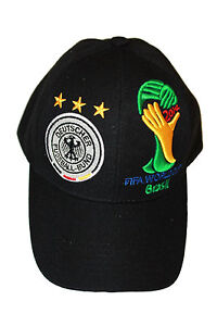 White DEUTSCHER FUSSBALL-BUND LOGO FIFA WORLD CUP EMBOSSED HAT CAP GERMANY .