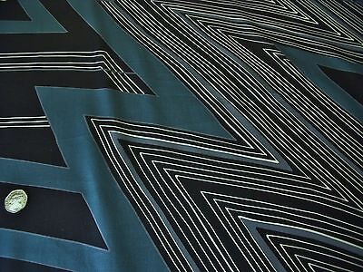 STRETCH COTTON SATEEN PRINT-LARGE GEOMETRIC--PETROL/BLACK-DRESS FABRIC-FREE P&P