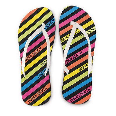 Playa urbana de la marca Flip Flop Flipflop Zapatos sandles Neon Rayas Mujer Damas