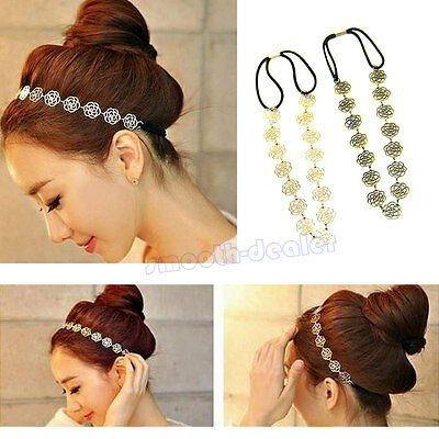New Fashion Women Accessories Hollow Rose Flower Elastic Hair Band Headband