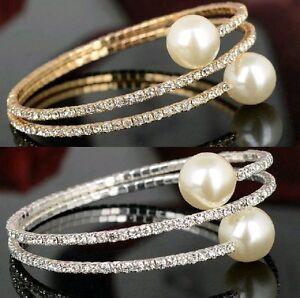 Hochzeit-Armband-Braut-Strass-Perlen-Armschmuck-weiss-silber-glod-farbig-dehnbar
