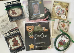 Vintage-Lot-Of-8-Cross-Stitch-Needlework-Kits-Bucilla-Burdett-floss-aida-hoop