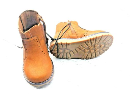 Kids Boots Toddlers Brown Tan Side Zip Grips Mother Care