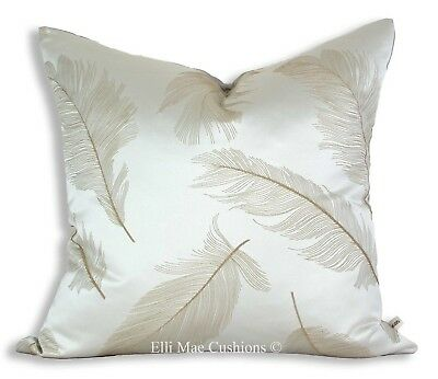 Luxury Designer Silver Grey Feather Gold Embroidered Cushion Throw Pillow Cover Ebay
