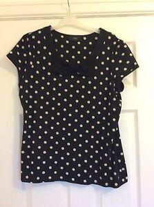 Next-Ladies-T-Shirt-Navy-With-Cream-Spots