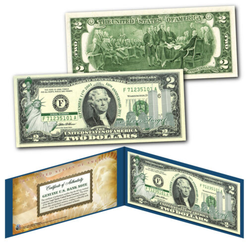 WORLD TRADE CENTER WTC 9//11 Statue of Liberty GRN $2 US Bill SPECIAL LOW PRICE